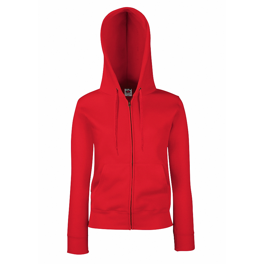 "Толстовка ""Lady-Fit Hooded Sweat Jacket"", красный_M, 75% х/б, 25% п/э, 280 г/м2"